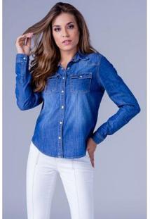 Camisa Jeans Equivoco Alice Feminina - Feminino-Azul