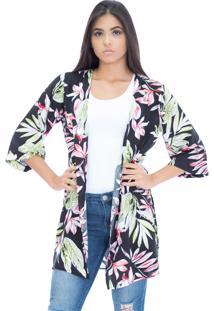 Kimono Bis Bis Florido Lydia Preto