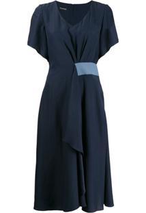 Emporio Armani Vestido Midi Com Decote V - Azul