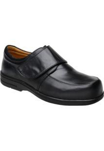 Sapato Conforto Couro Doctor Pé Velcro Masculino - Masculino-Preto