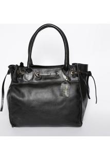 Bolsa Em Couro Com Bag Charm - Preta- 29X31X19Cmmr. Cat
