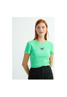 Blusa Cropped Em Ribana Com Bordado Stitch | Lilo & Stitch | Verde | M