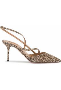 Aquazzura Sapato Carolyne Com Salto 75Mm - Marrom