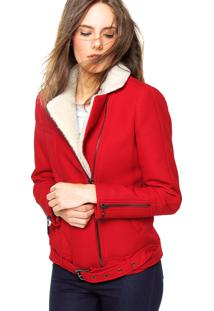 Jaqueta Ellus Double Tweed Pelo Vermelha