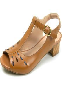 Sandália Salto Baixo Em Couro Miuzzi Whisky/Marinho