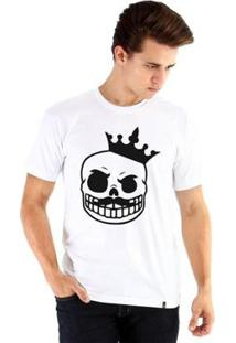 Camiseta Ouroboros Manga Curta Caveira Rei - Masculino-Branco