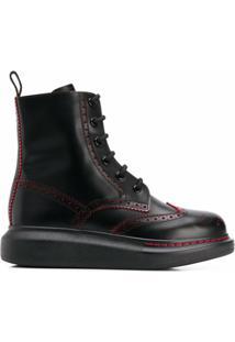 Alexander Mcqueen Ankle Boot Estilo Brogue - Preto