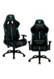 Kit 02 Cadeiras Gamer Office Giratória Com Elevação A Gás Bc3 Preto Ciano - Thunderx3