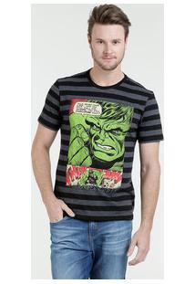 Camiseta Masculina Listrada Estampa Hulk Marvel