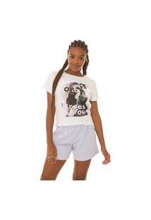 T-Shirt Feminina Journal Face Sem Strass