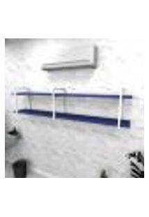 Estante Industrial Escritório Aço Cor Branco 180X30X40Cm (C)X(L)X(A) Cor Mdf Azul Modelo Ind39Azes