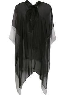 Haider Ackermann Blusa Translúcida Assimétrica - Preto