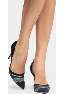Scarpin Couro Shoestock Salto Alto Bico Fino Semi Multicor - Feminino-Marinho