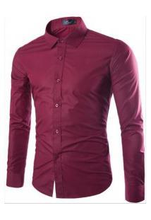 Camisa Social Masculina Slim Manga Longa - Vinho