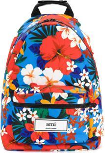 Ami Paris Mochila De Couro Com Estampa Floral - Estampado