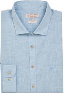 Camisa Dudalina Manga Longa Fio Tinto Fil A Fil Masculina (Azul Claro, 4)