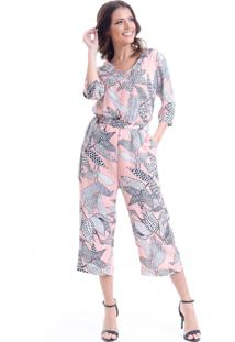 Macacao 101 Resort Wear Alfaiataria Pantacourt Crepe Floral Nude