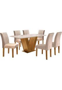 Conjunto De Mesa De Jantar Com 6 Cadeiras Classic Suede L Off White E Bege