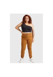 Calça Jogger Sarja K2 Feminino Caramelo Plus Size Tam. 46 Ao 52