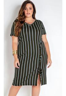 Vestido Plus Size Listrado Com Ilhos E Cordão