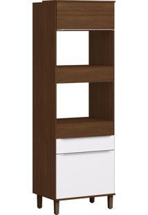 Armário Cozinha Decibal Cs604P Slim 1 Porta Com Tampo Cacau/Branco