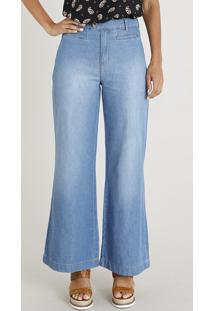 Calça Jeans Feminina Pantalona Azul Claro