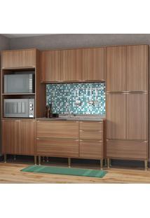 Cozinha Compacta Calábria 13 Portas 3 Gavetas Nogueira/Malt - Multimóveis