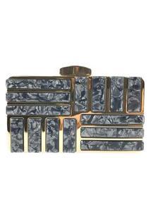 Bolsa Clutch Liage Metal Acrilico Alça Alcinha Dourada Preta