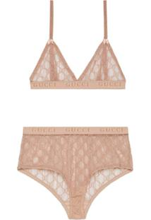 Gucci Conjunto De Lingerie Gg Em Tule - Rosa