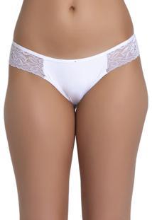 Tanga Recco De Lycra E Renda Branco - Branco - Feminino - Dafiti