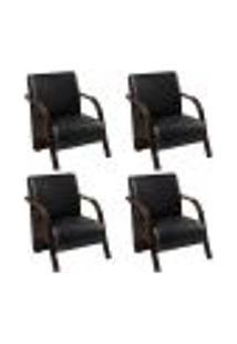 Conjunto De 4 Poltronas Sevilha Decorativa Braço De Madeira Cadeira Para Recepção, Sala Estar Tv Espera, Escritório, Vários Ambientes - Corino Preto