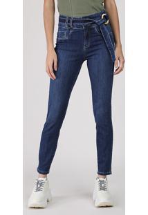 Calça Jeans Feminina Sawary Super Skinny Cintura Super Alta Com Cinto Azul Escuro