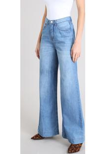 Calça Jeans Feminina Pantalona Cintura Alta Azul Claro