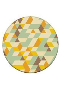Tapete Love Decor Redondo Wevans Illusion Triângulos Amarelo 84Cm