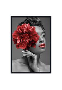 Quadro 60X90Cm Angela Mulher Com Flor Vermelha Nórdico Moldura Preta Com Vidro
