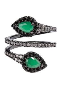 Anel Snake The Ring Boutique Pedra Cristal Verde Esmeralda Ródio Negro
