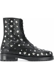 Red(V) Ankle Boot Com Tachas E Estrelas - Preto