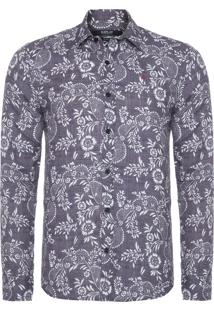 Camisa Masculina Floral - Cinza