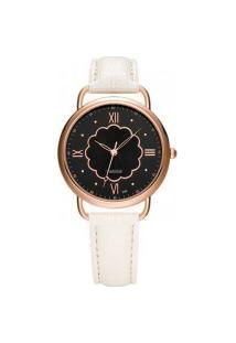 Relógio Feminino Yazole 399 - Branco Com Preto