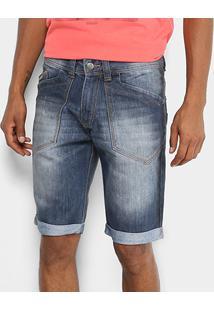 Bermuda Jeans Biotipo Estonada Barra Dobrada Masculina - Masculino-Azul