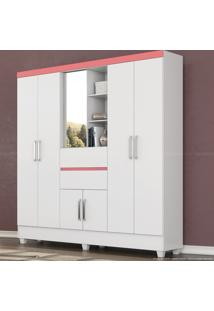 Guarda-Roupa 7 Portas 2 Gavetas Flex Color Capela Com Espelho Branco/Rosa/Branco - Demóbile