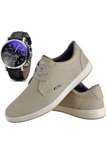 Sapatênis Sapato Casual Com Relógio Cr Shoes Com Cadarço Masculino 1510L Areia Bege