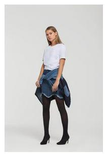 Saia Curta Evase Barra Desfiada Jeans