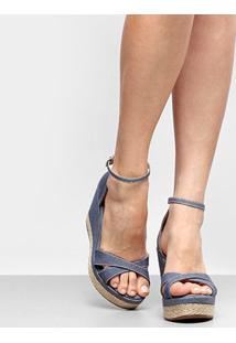 3b17c1b42 ... Sandália Anabela Griffe Detalhe Corda Jeans Feminina - Feminino-Jeans
