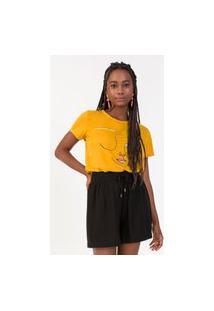 T-Shirt Feminina Estampada Rovitex Amarelo