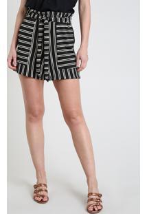 Short Feminino Reto Cintura Super Alta Listrado Com Faixa Para Amarrar Preto