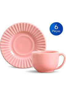 Conjunto 6 Xícaras De Chá Com Pires Plissé - Porto Brasil Rosa