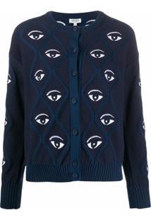 Kenzo Cardigan Com Padronagem De Olho - Azul