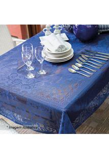 Toalha De Mesa De Renda Arabescos- Azul Escuro- 250Xlepper