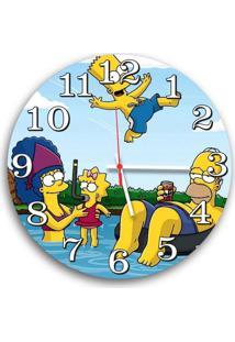 Relógio De Parede Decorativo Simpsons Família Piscina 35Cm Único